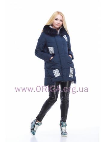 """зимняя куртка """"Юта"""" с нашивками/ без нашивок, мех цв.енот, 42-48"""