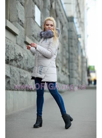 "зимняя куртка ""Юта"", чернобурка, 48 графит, мята, пломбир"