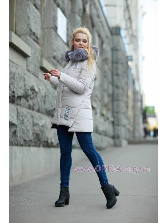 """зимняя куртка """"Юта"""", чернобурка, 48 пломбир"""